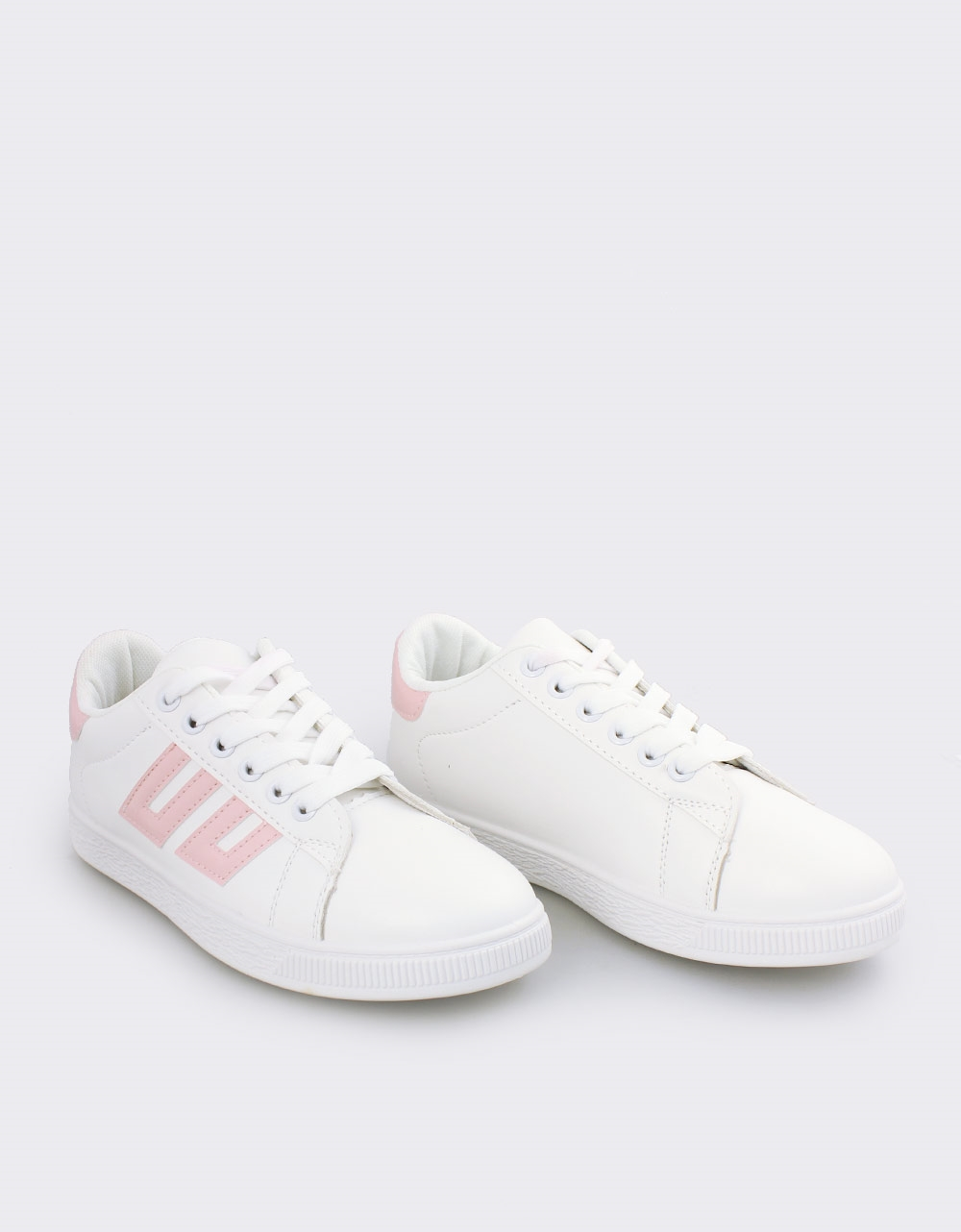 Εικόνα από Γυναικεία sneakers με λεπτομέρειες Λευκό/Ροζ