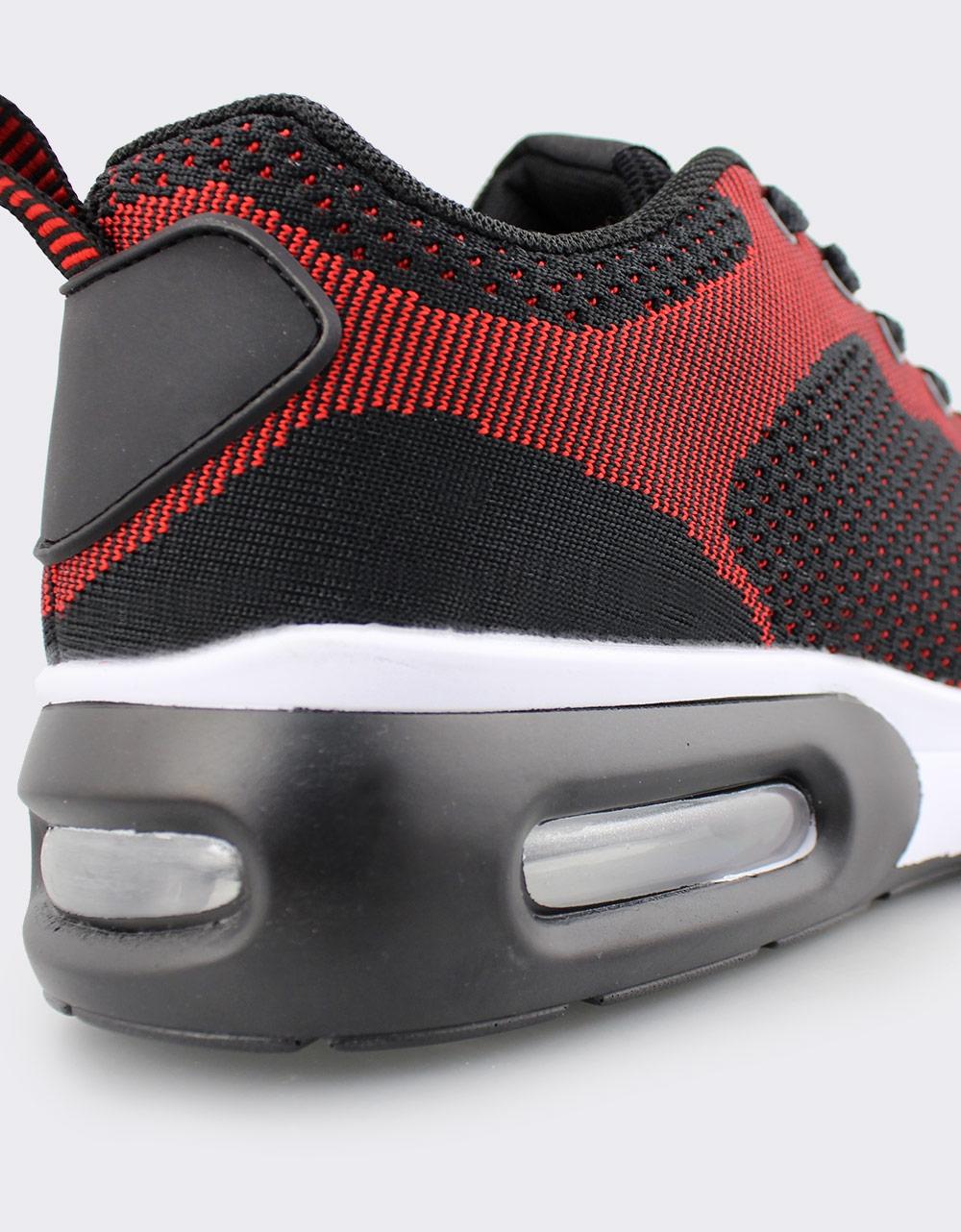 Εικόνα από Ανδρικά sneakers δίχρωμα με αερόσολα Μαύρο/Κόκκινο