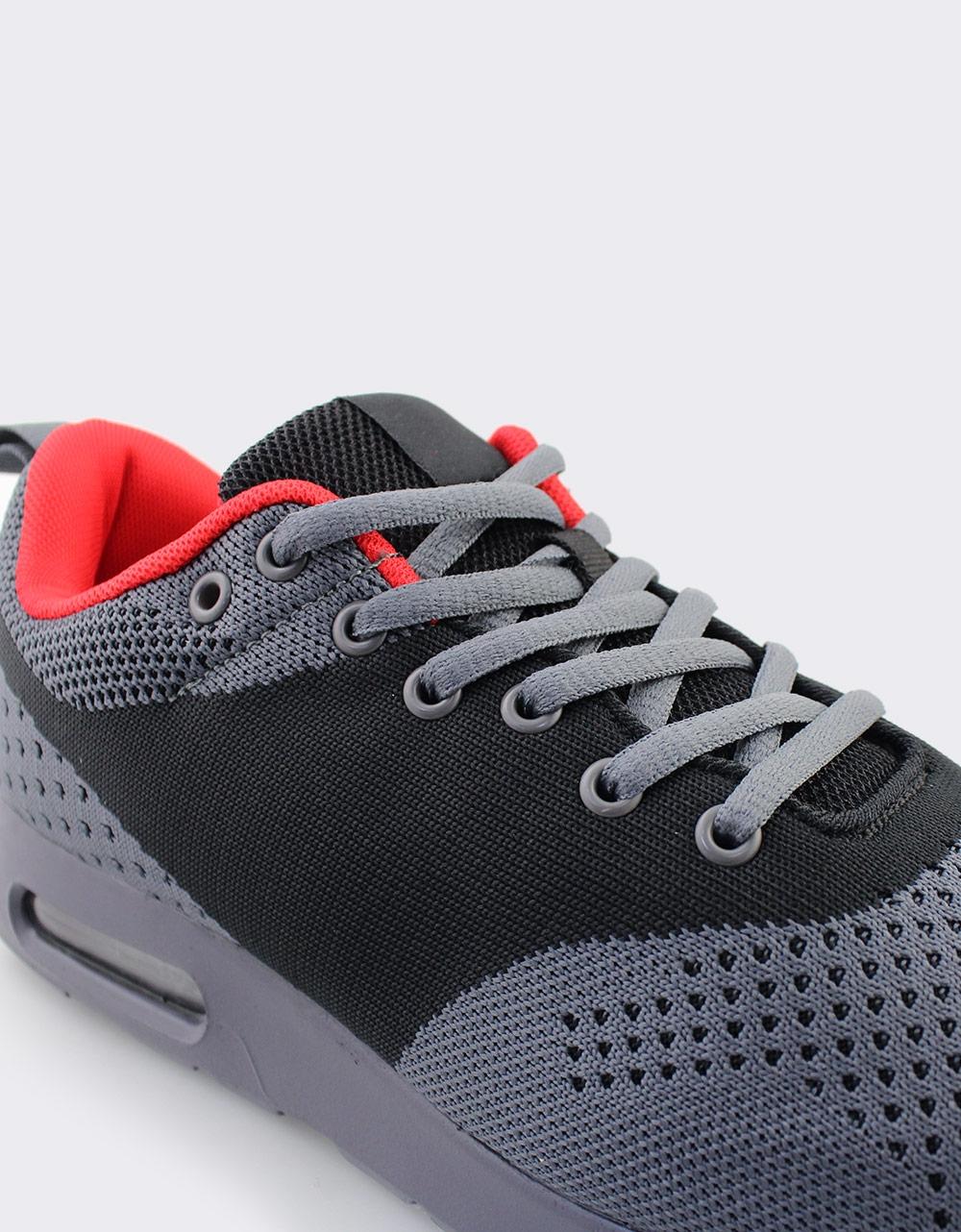 Εικόνα από Ανδρικά Sneakers με πλεκτό σχέδιο και αερόσολα Γκρι/Μαύρο