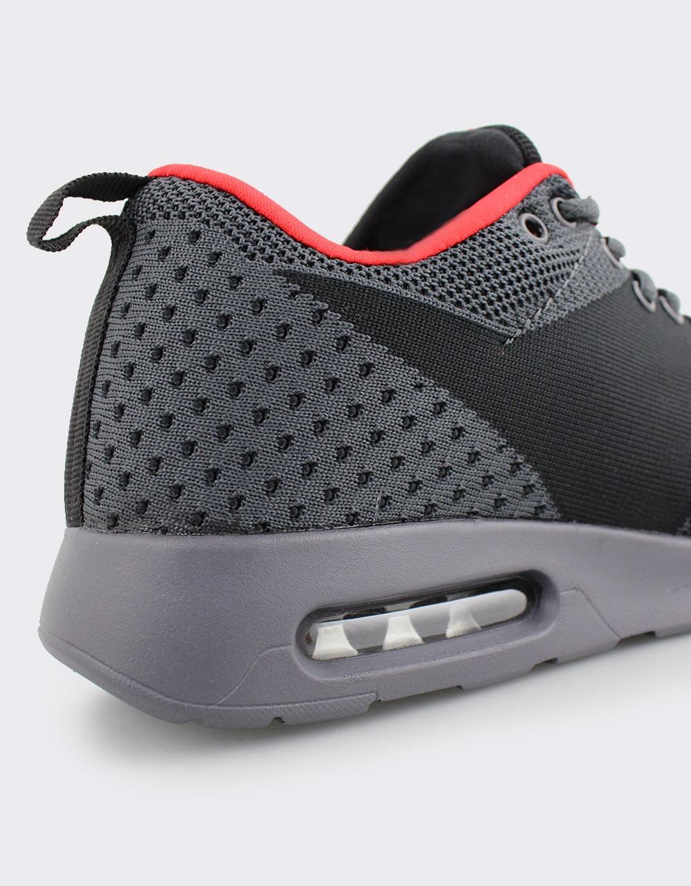 Εικόνα από Ανδρικά Sneakers με πλεκτό σχέδιο και αερόσολα Μαύρο/Γκρι