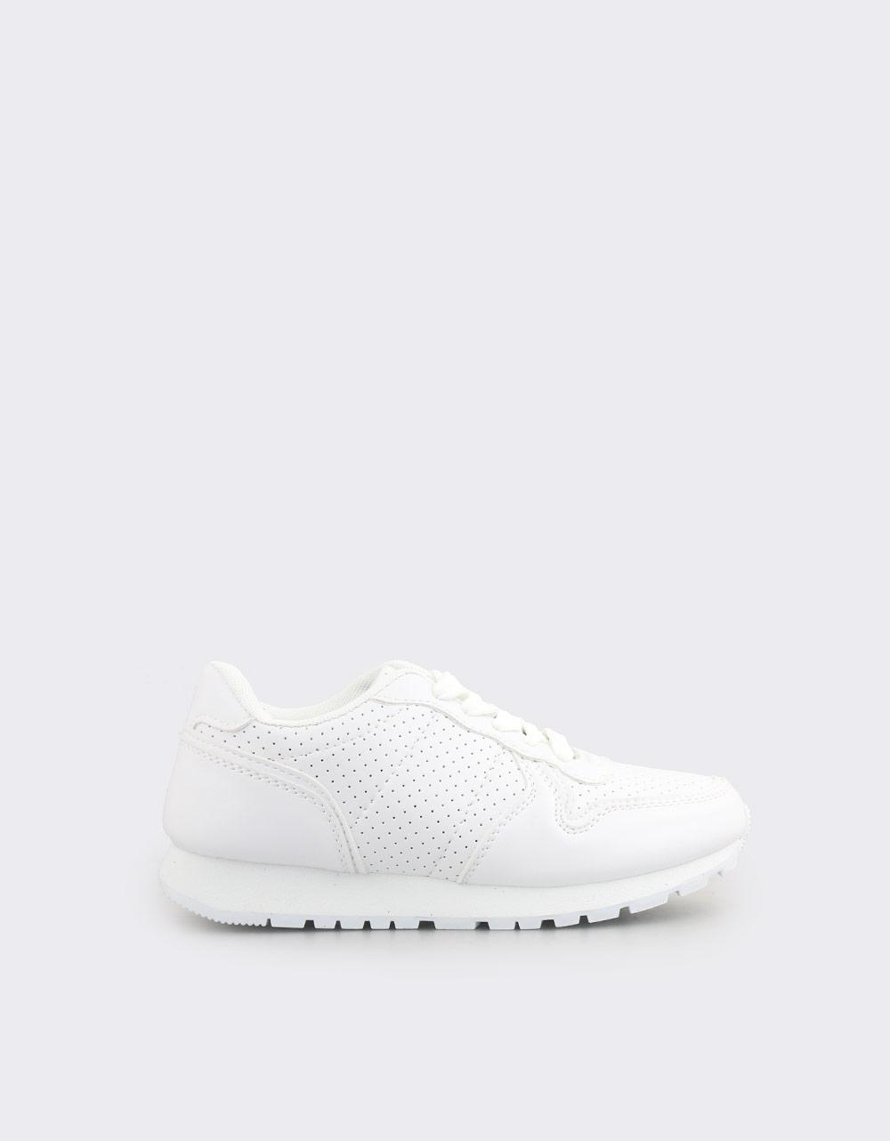 Εικόνα από Παιδικά sneakers με κορδόνια και λεπτομέρειες Λευκό
