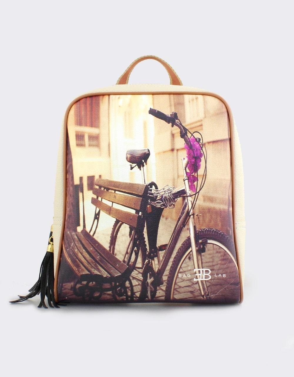 Εικόνα από Γυναικεία σακίδια πλάτης με ποδήλατο Μπεζ
