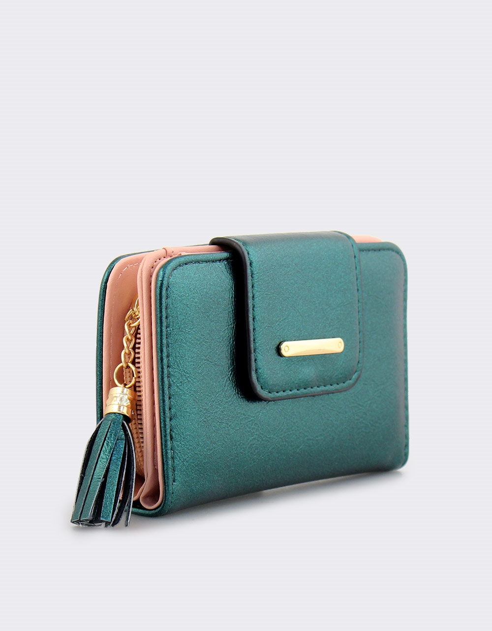 Εικόνα από Γυναικεία πορτοφόλια με φουντάκι Πράσινο