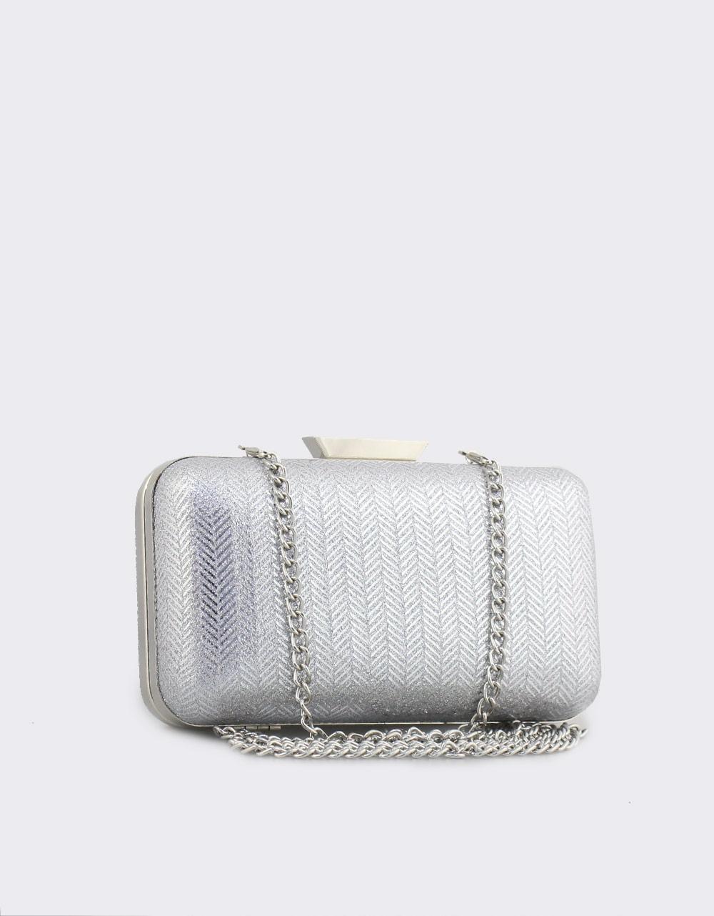 Εικόνα από Γυναικείοι φάκελοι clutch με μοτίβο και χρυσόσκονη Ασημί