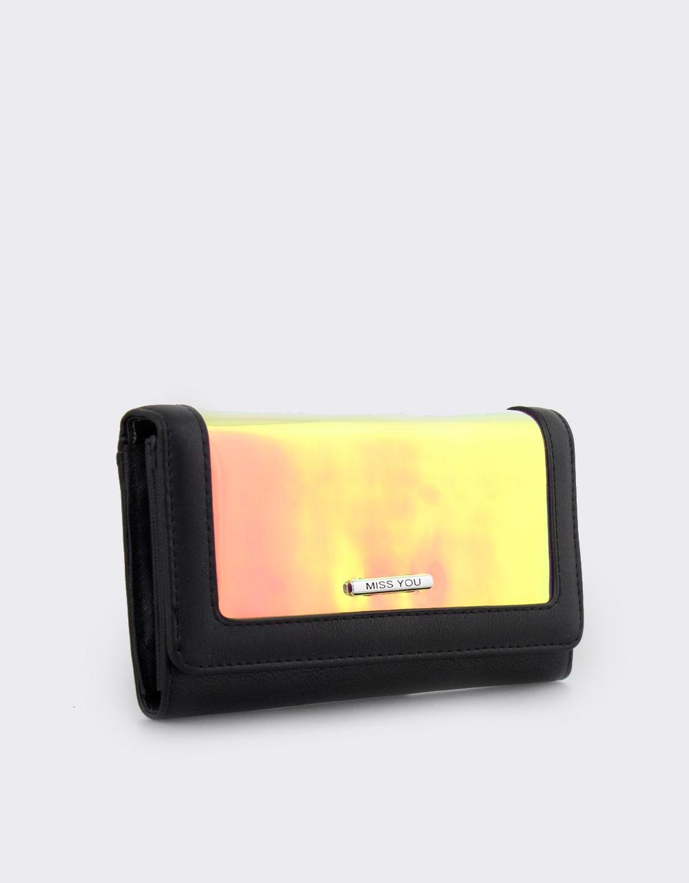 Εικόνα από Γυναικεία πορτοφόλια με μεταλλιζέ λεπτομέρεια Μαύρο