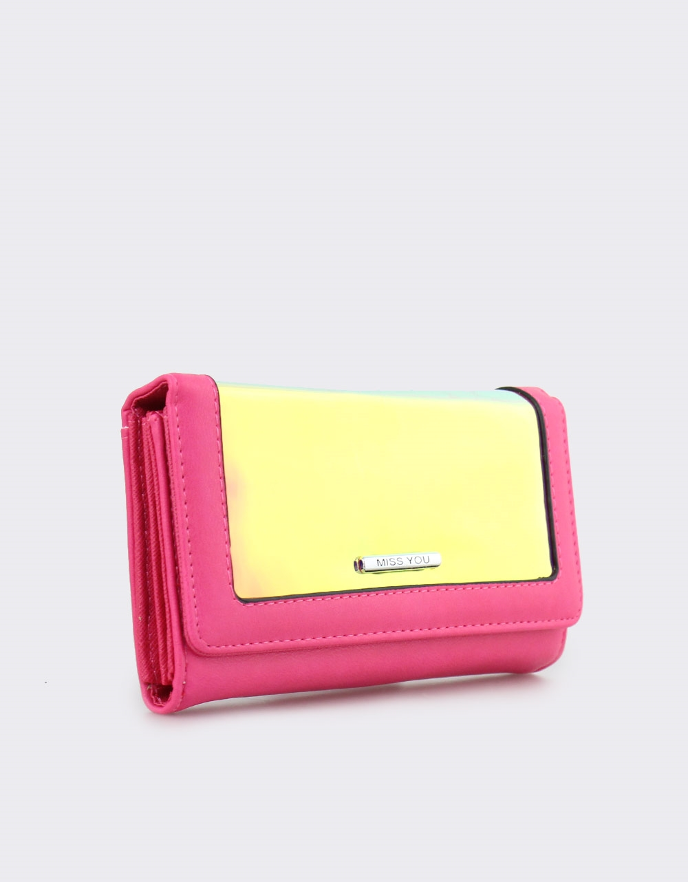 Εικόνα από Γυναικεία πορτοφόλια με μεταλλιζέ λεπτομέρεια Φούξια