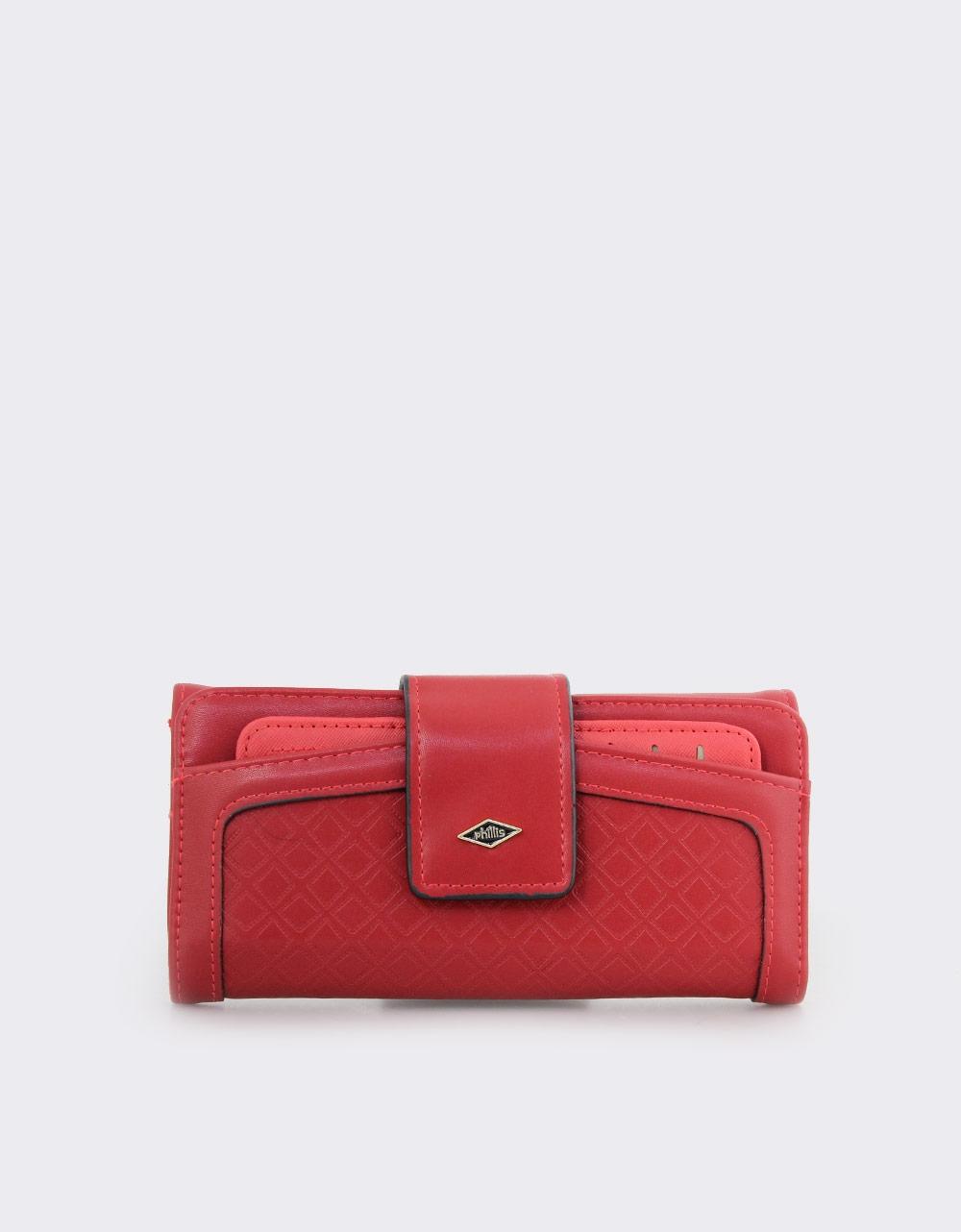 Εικόνα από Γυναικεία πορτοφόλια με ανάγλυφη λεπτομέρεια Μπορντώ