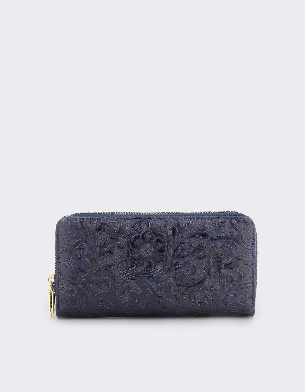 Εικόνα από Γυναικεία πορτοφόλια με ανάγλυφα λουλούδια Navy