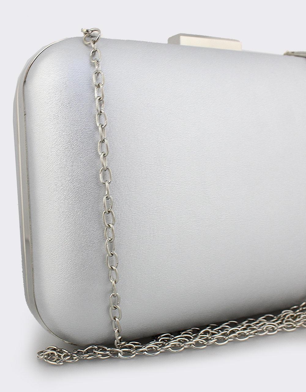 Εικόνα από Γυναικείοι φάκελοι clutch μονόχρωμοι Ασημί