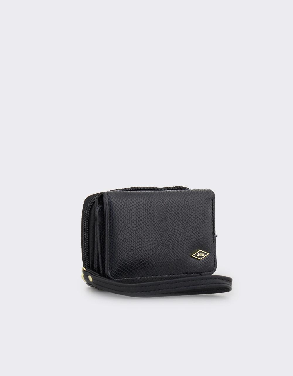 Εικόνα από Γυναικεία πορτοφόλια με snake μοτίβο Μαύρο