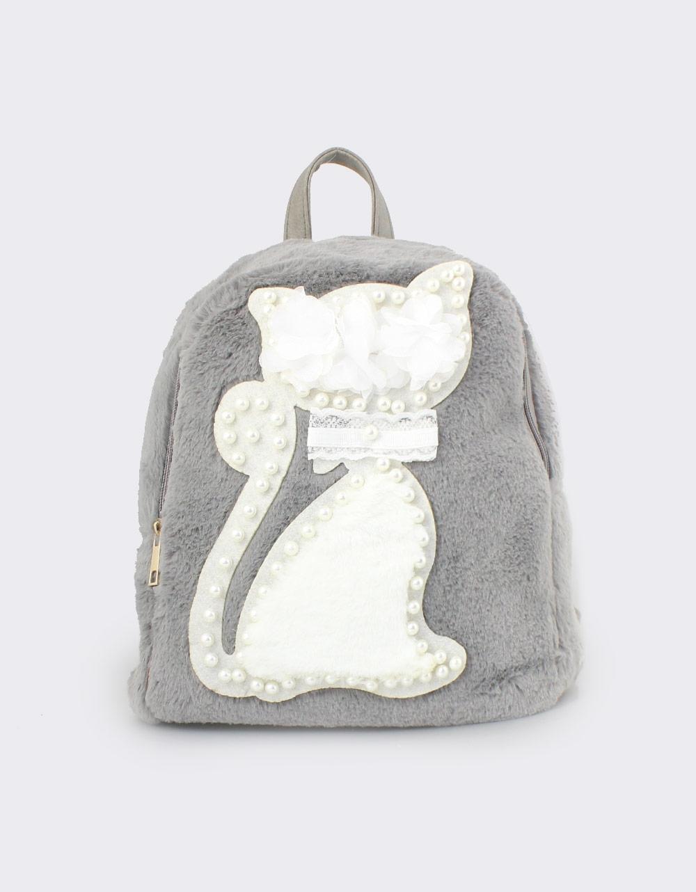 Εικόνα από Γυναικεία σακίδια πλάτης με γατάκι και πέρλες Γκρι