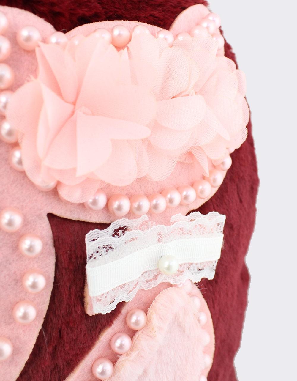 Εικόνα από Γυναικεία σακίδια πλάτης με γατάκι και πέρλες Μπορντώ