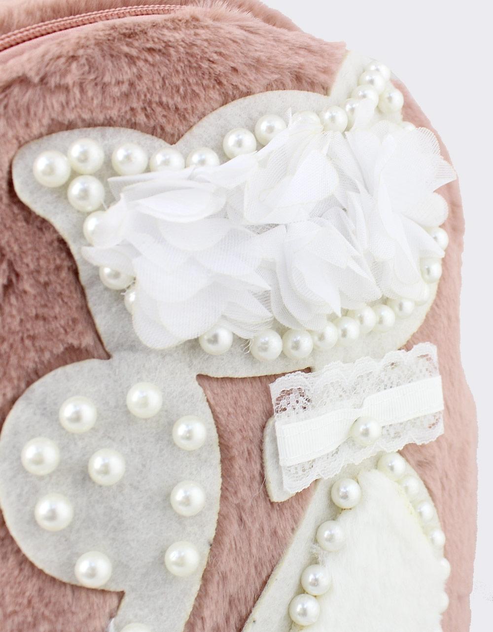 Εικόνα από Γυναικεία σακίδια πλάτης με γατάκι και πέρλες Ροζ