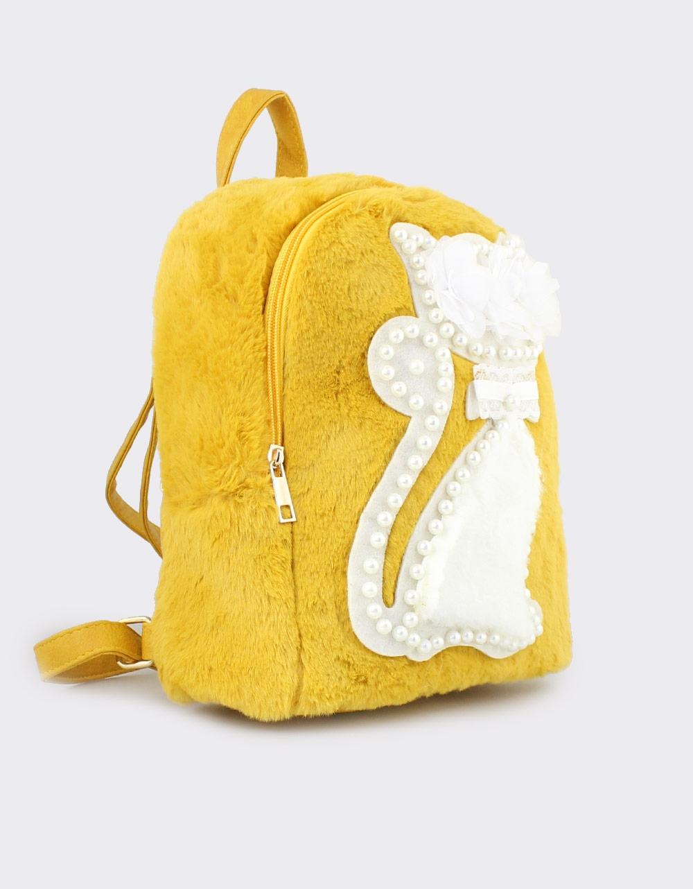 Εικόνα από Γυναικεία σακίδια πλάτης με γατάκι και πέρλες Κίτρινο