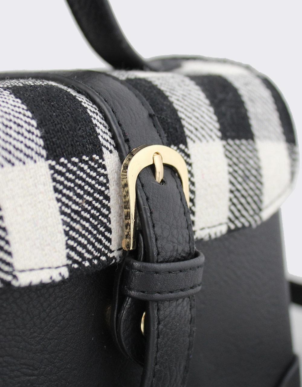 Εικόνα από Γυναικείες τσάντες ώμου με καρό καπάκι Μαύρο