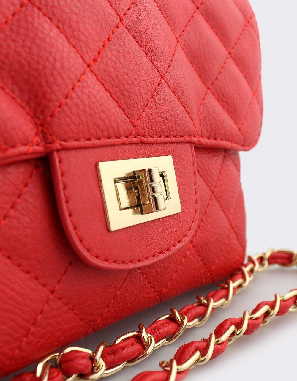 Εικόνα από Γυναικείες τσάντες ώμου καπιτονέ με αλυσίδα Κόκκινο