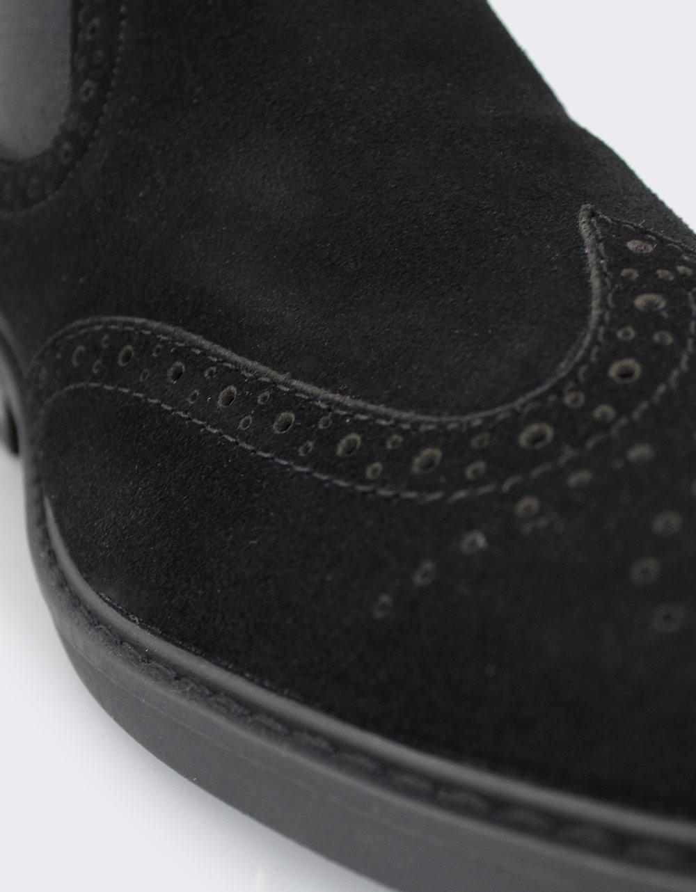 Εικόνα από Ανδρικά καστόρινα δερμάτινα μποτάκια περφορέ με λάστιχο Μαύρο