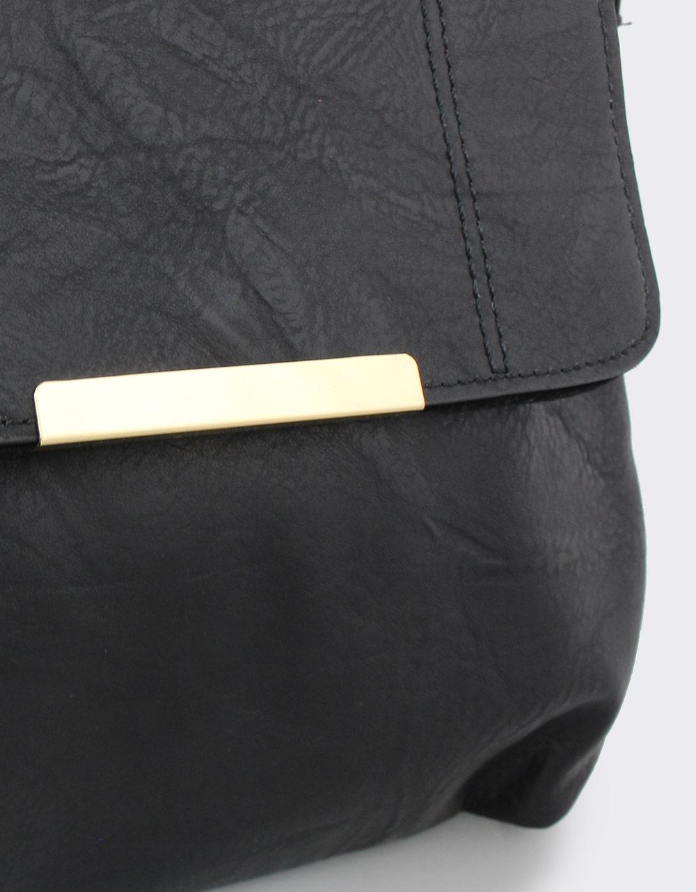 Εικόνα από Γυναικείες τσάντες ώμου με μεταλλική λεπτομέρεια Μαύρο