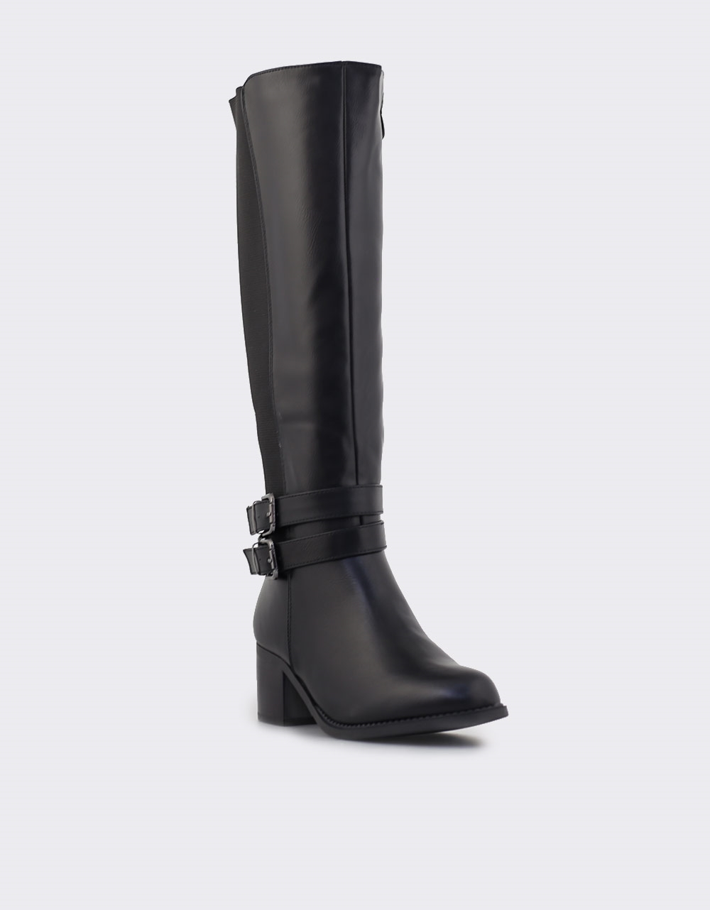 Εικόνα από Γυναικείες μπότες με λάστιχο και λουράκια Μαύρο