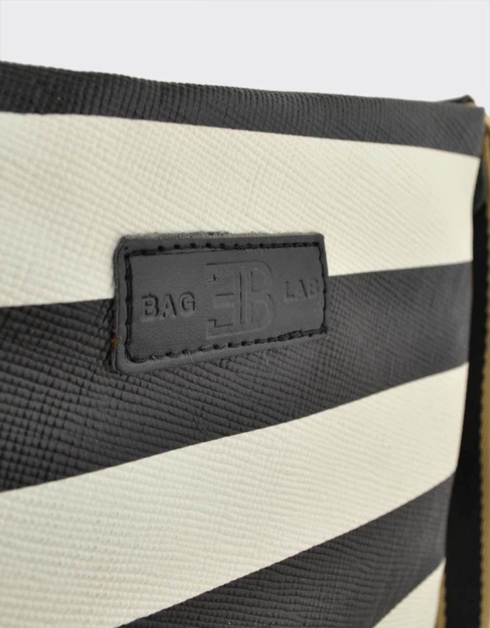 Εικόνα από Γυναικείες τσάντες ώμου χιαστί ριγέ Λευκό/Μαύρο