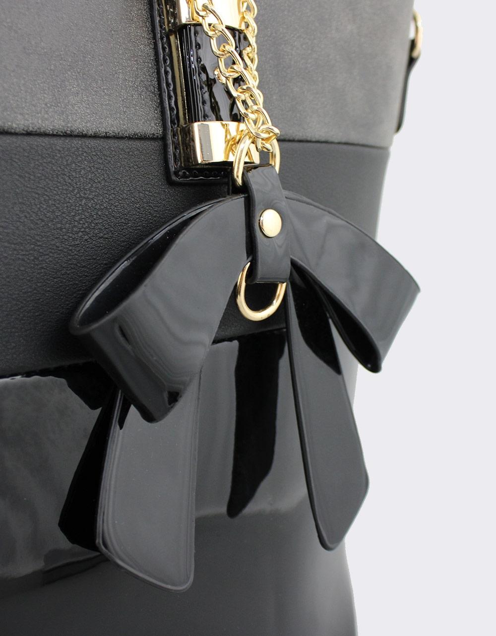 Εικόνα από Γυναικείες τσάντες χειρός με δίχρωμο σχέδιο Μαύρο