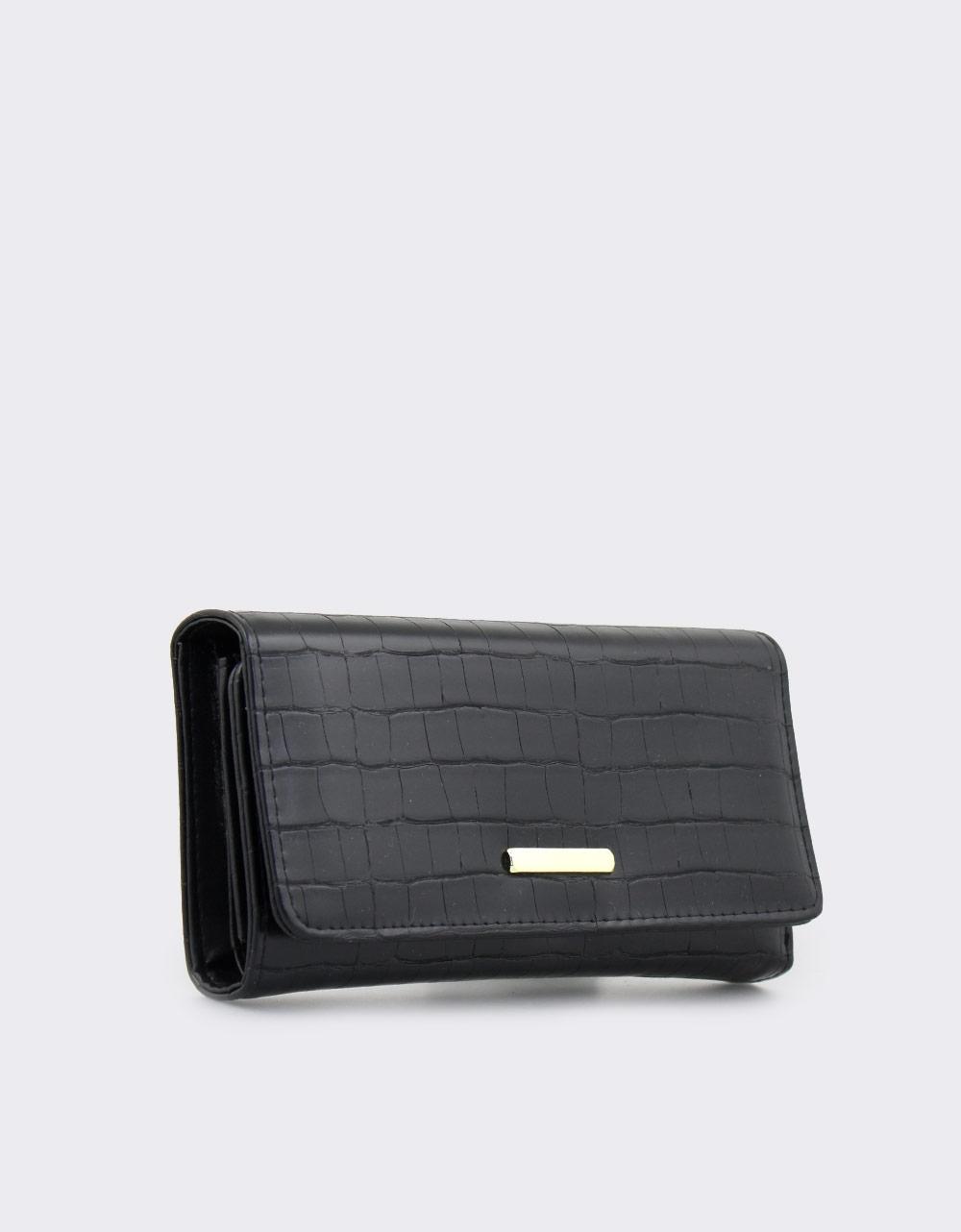 Εικόνα από Γυναικεία πορτοφόλια κροκό Μαύρο