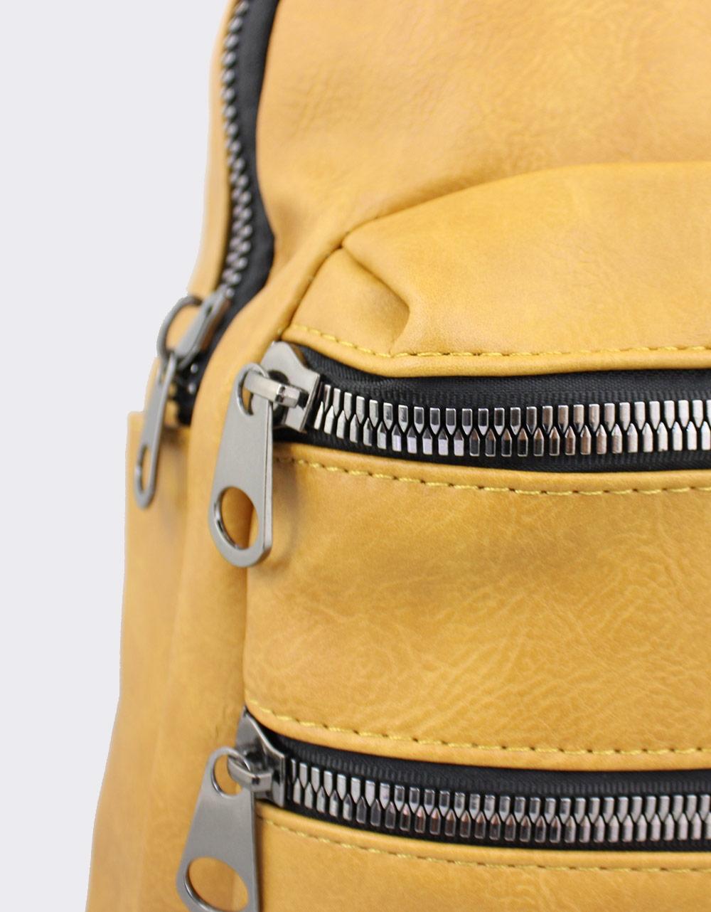 Εικόνα από Γυναικεία σακίδια πλάτης με καπιτονέ μοτίβο Κίτρινο