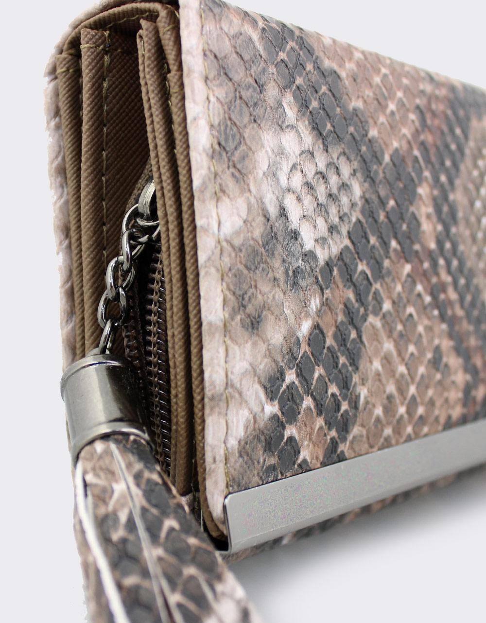 Εικόνα από Γυναικεία πορτοφόλια κροκό με φουντάκι Καφέ