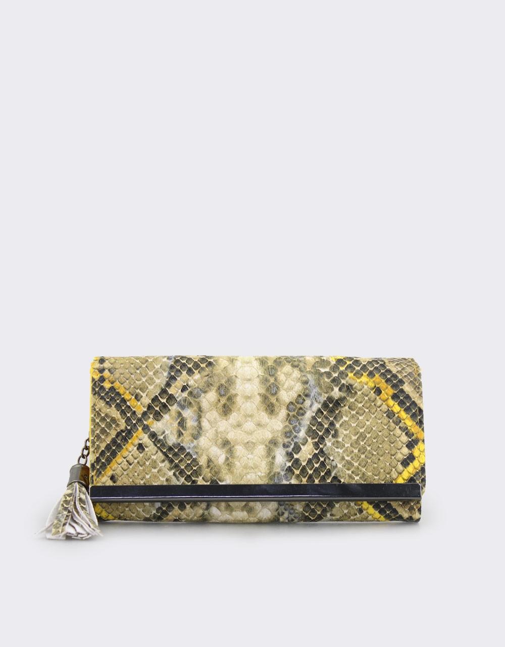 Εικόνα από Γυναικεία πορτοφόλια κροκό με φουντάκι Κίτρινο