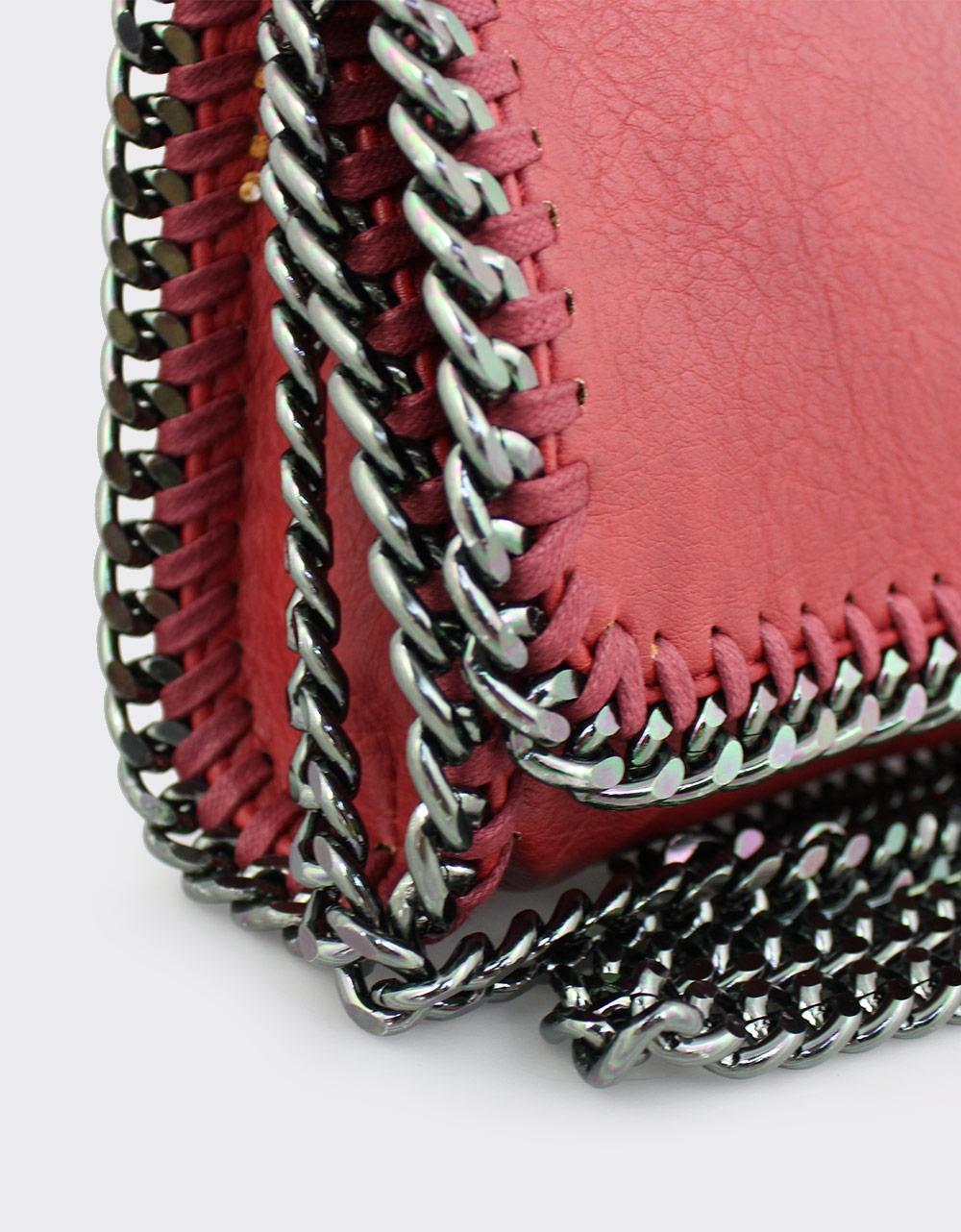 Εικόνα από Γυναικείες τσάντες ώμου με διακοσμητική αλυσίδα Κόκκινο