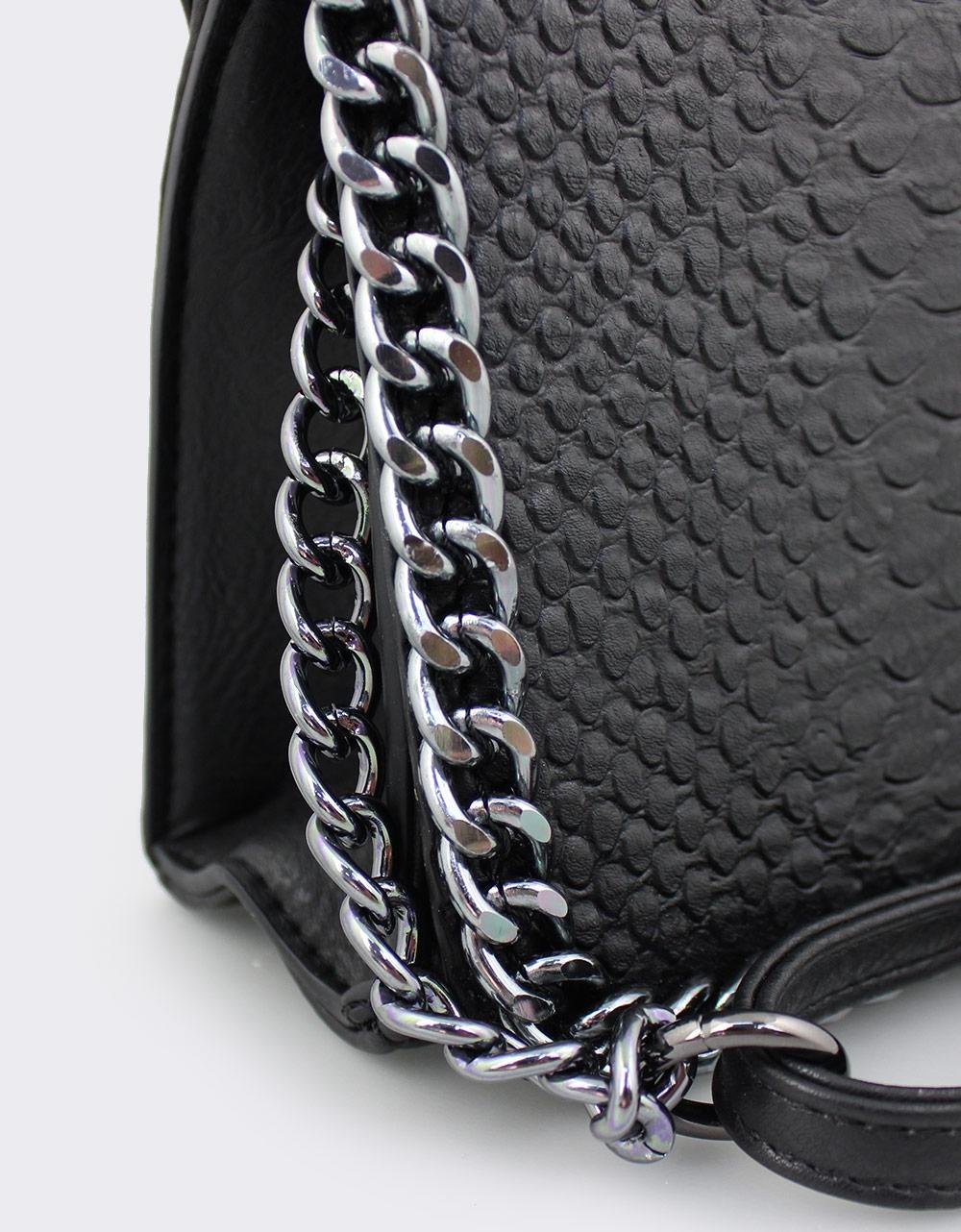 Εικόνα από Γυναικείες τσάντες ώμου με διακοσμητική αλυσίδα Μαύρο