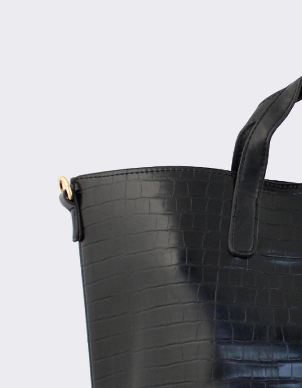Εικόνα από Γυναικείες τσάντες χειρός κροκό Μαύρο
