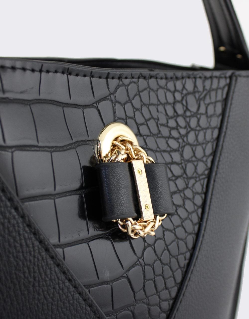 Εικόνα από Γυναικείες τσάντες χειρός με κροκό λεπτομέρειες Μαύρο
