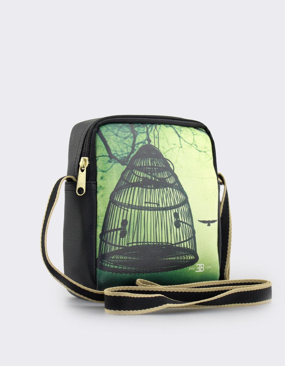 Εικόνα από Γυναικείες τσάντες ώμου με print κλουβί Μαύρο