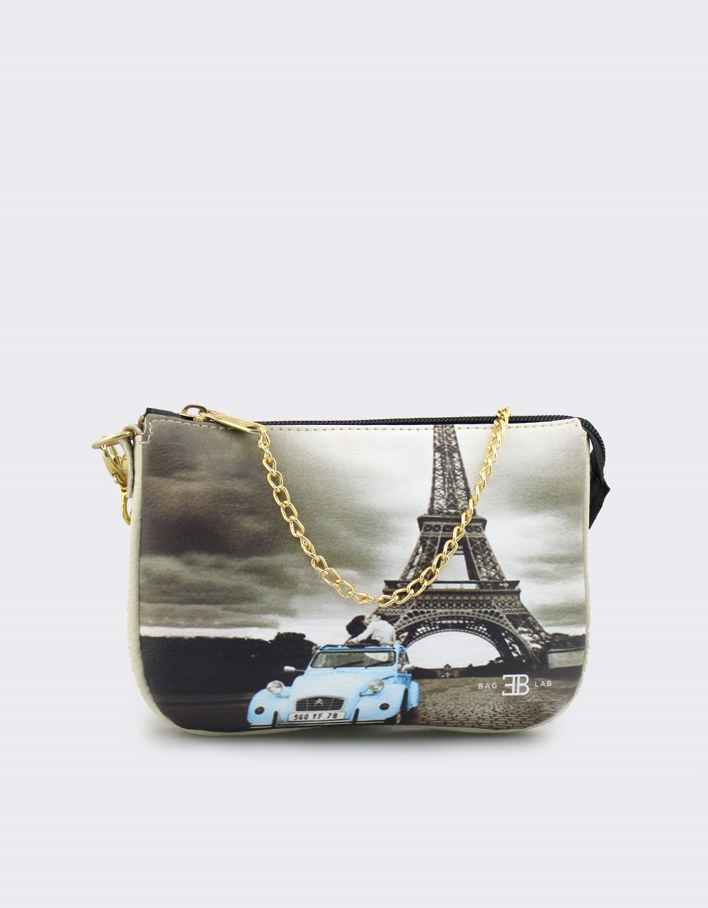Εικόνα από Γυναικείες τσάντες ώμου με print Paris Μπεζ