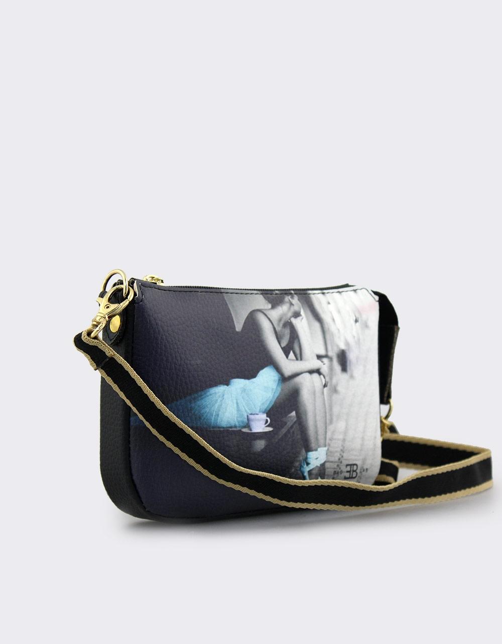 Εικόνα από Γυναικείες τσάντες ώμου με print μπαλαρίνα Μαύρο
