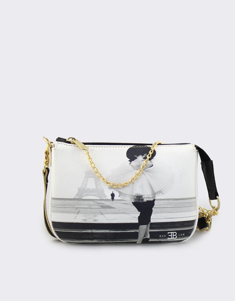 Εικόνα από Γυναικείες τσάντες ώμου με print Paris Λευκό