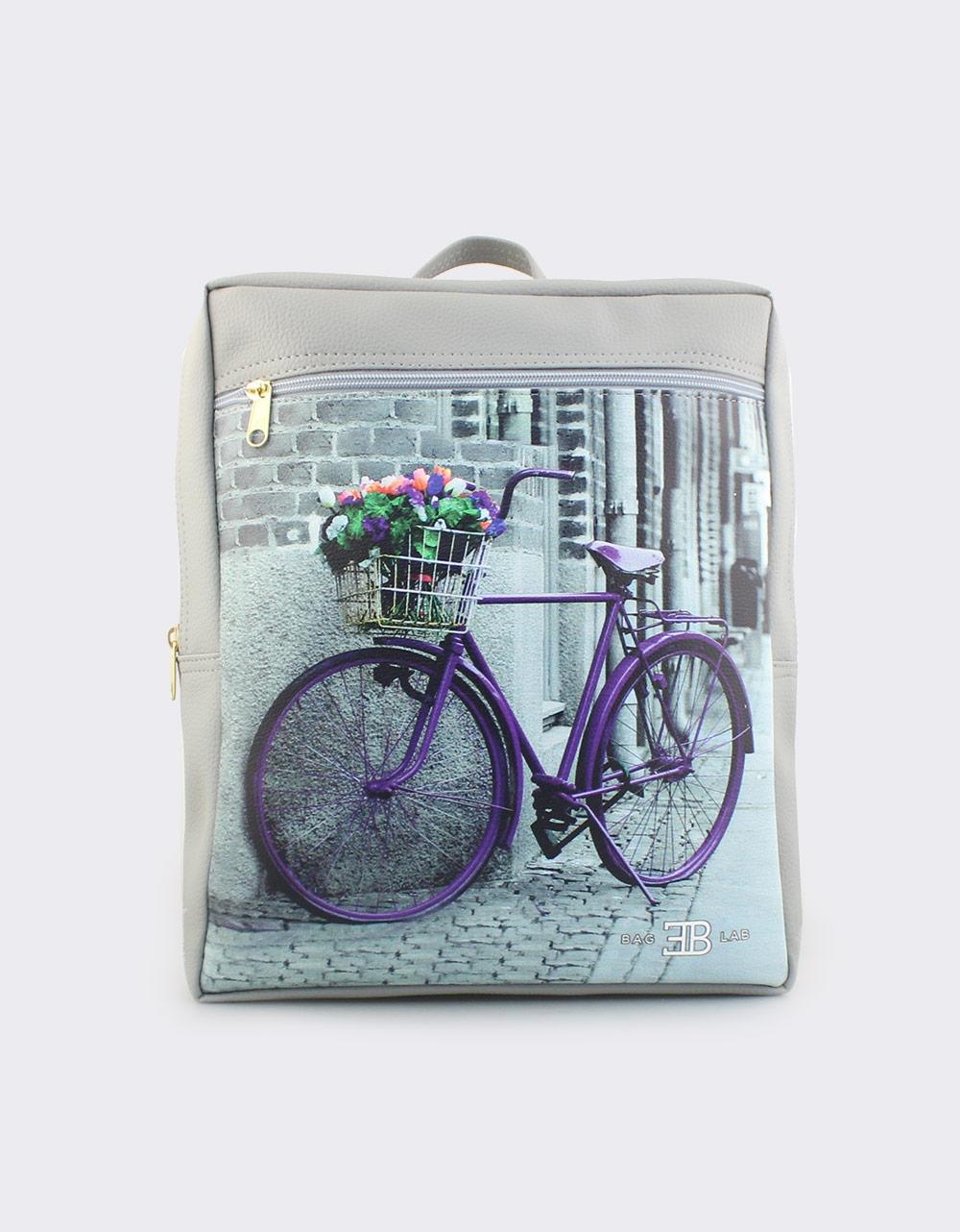 Εικόνα από Γυναικεία σακίδια πλάτης με ποδήλατο και λουλούδια Γκρι