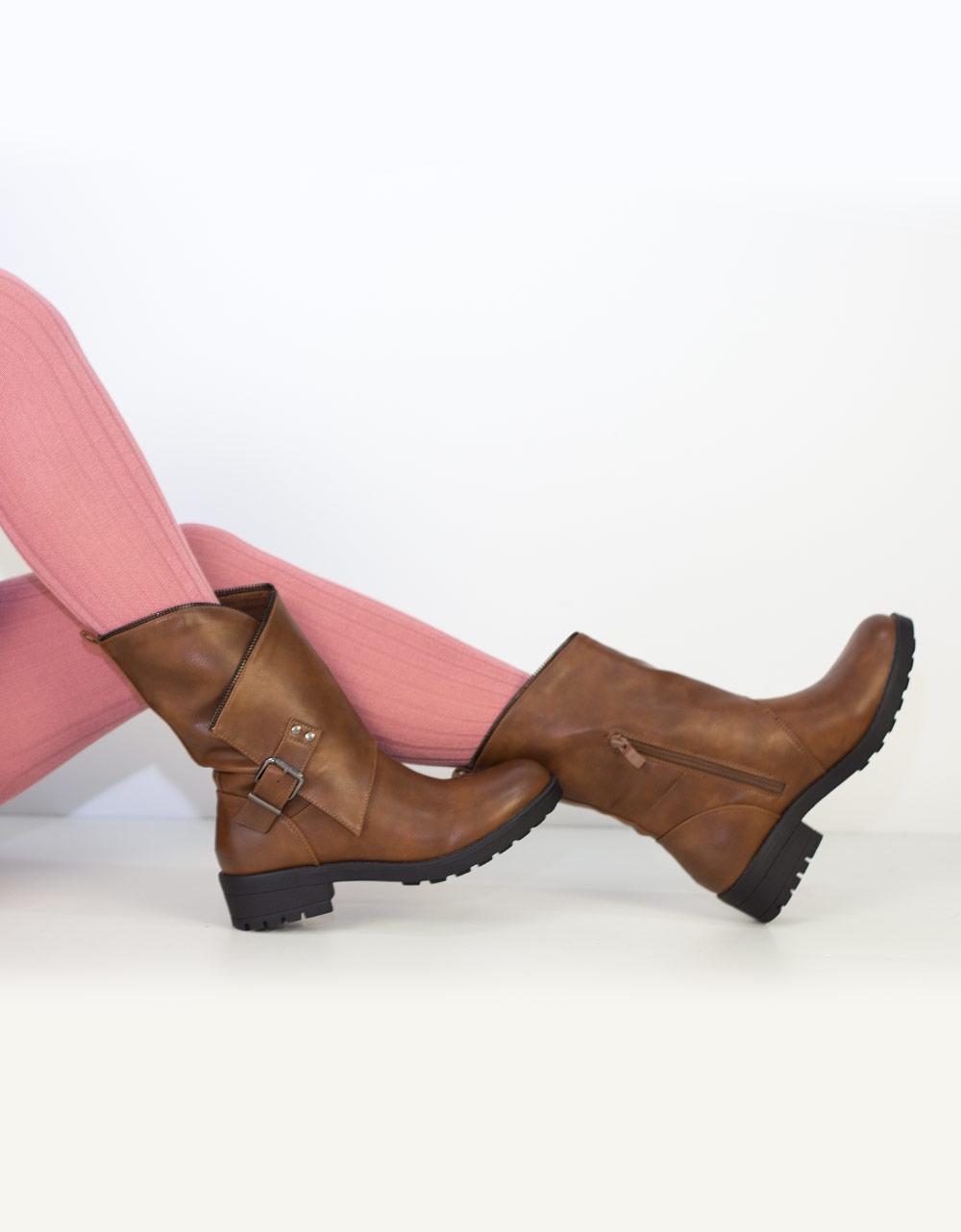 Εικόνα από Γυναικεία μποτάκια με πλαϊνό δέσιμο Ταμπά