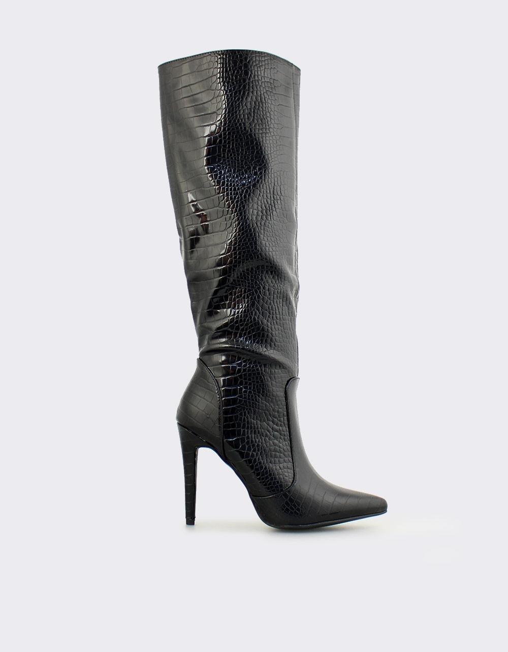 Εικόνα από Γυναικείες μπότες με κροκό λουστρίνι Μαύρο