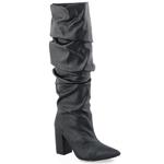 Εικόνα από Γυναικείες μπότες μεταλιζέ με σούρες Μαύρο