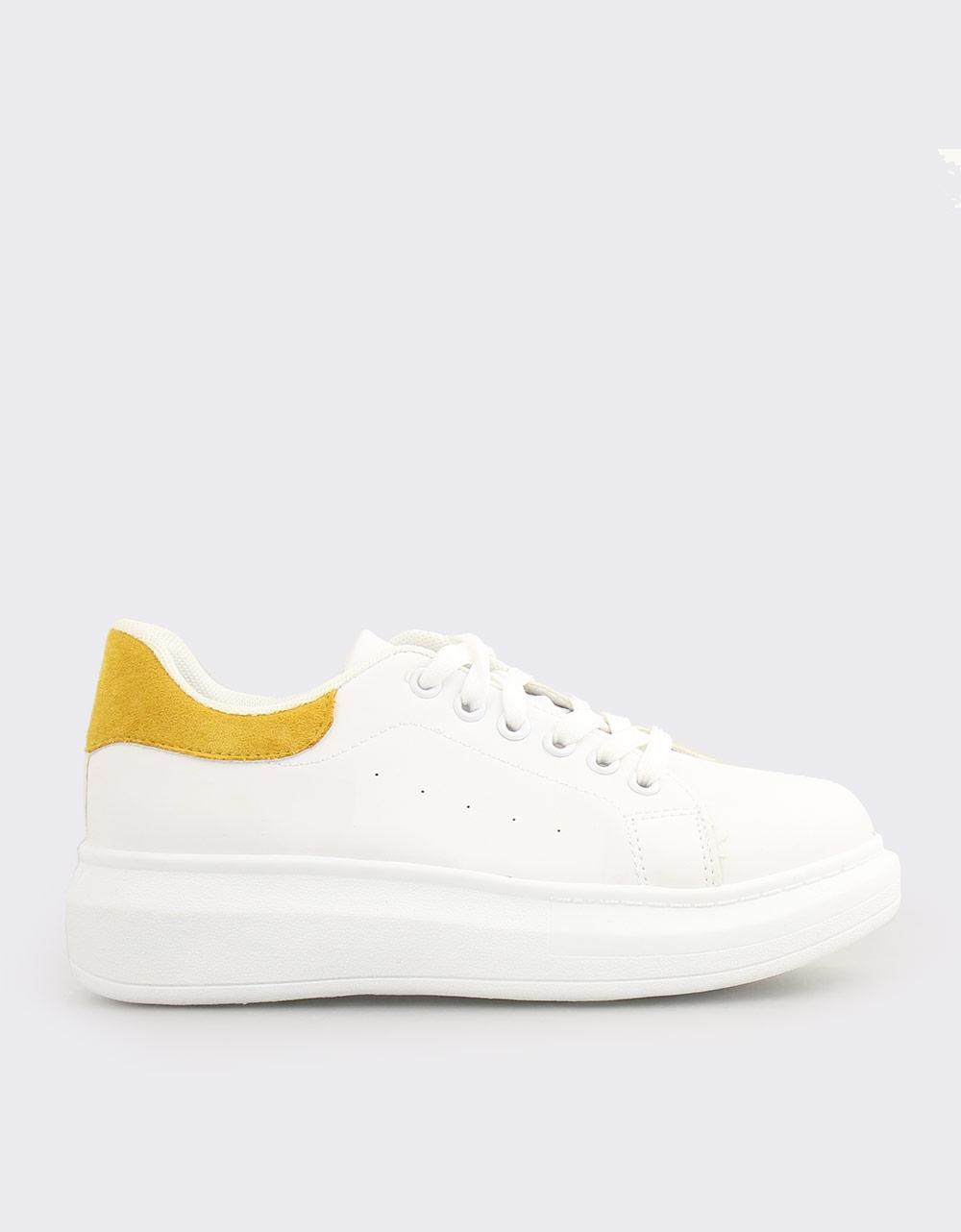 Εικόνα από Γυναικεία sneakers μονόχρωμα με λεπτομέρεια Λευκό/Κίτρινο
