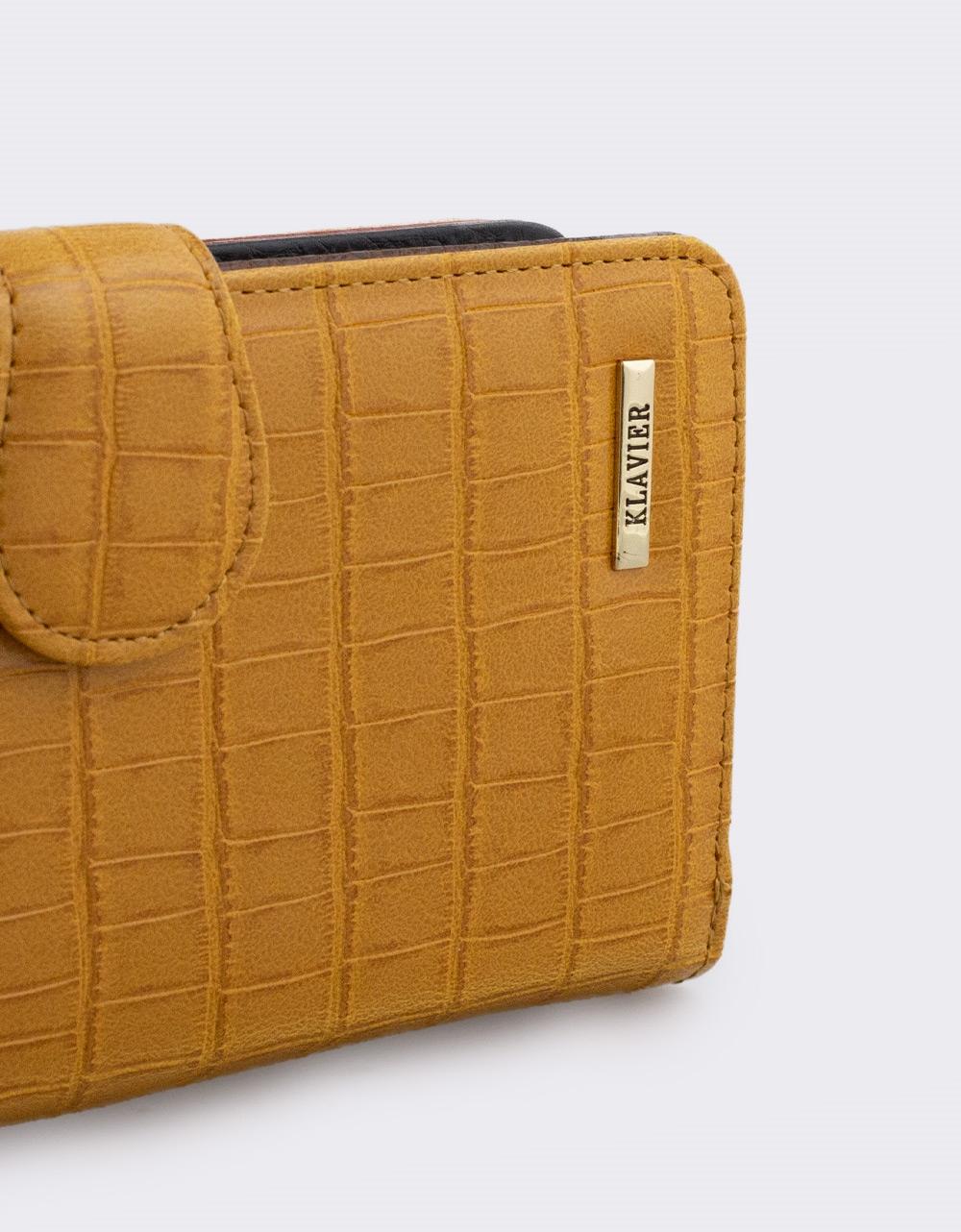 Εικόνα από Γυναικεία πορτοφόλια κροκό Κάμελ