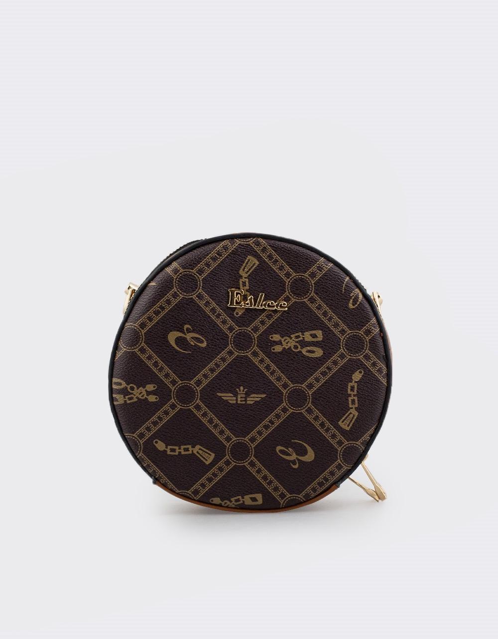 Εικόνα από Γυναικείες τσάντες ώμου στρογγυλές με μοτίβο Καφέ