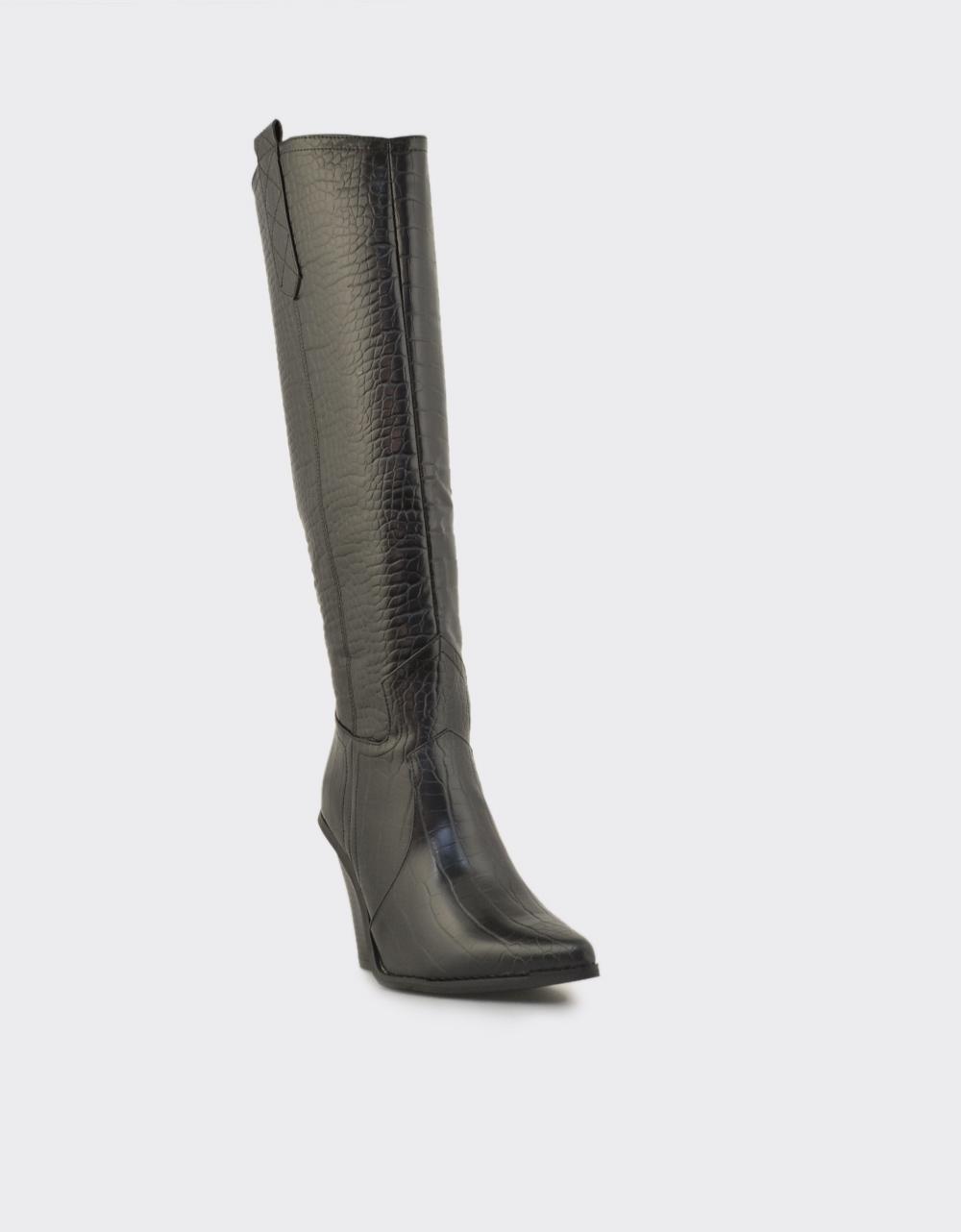 Εικόνα από Γυναικείες μπότες κροκό Μαύρο