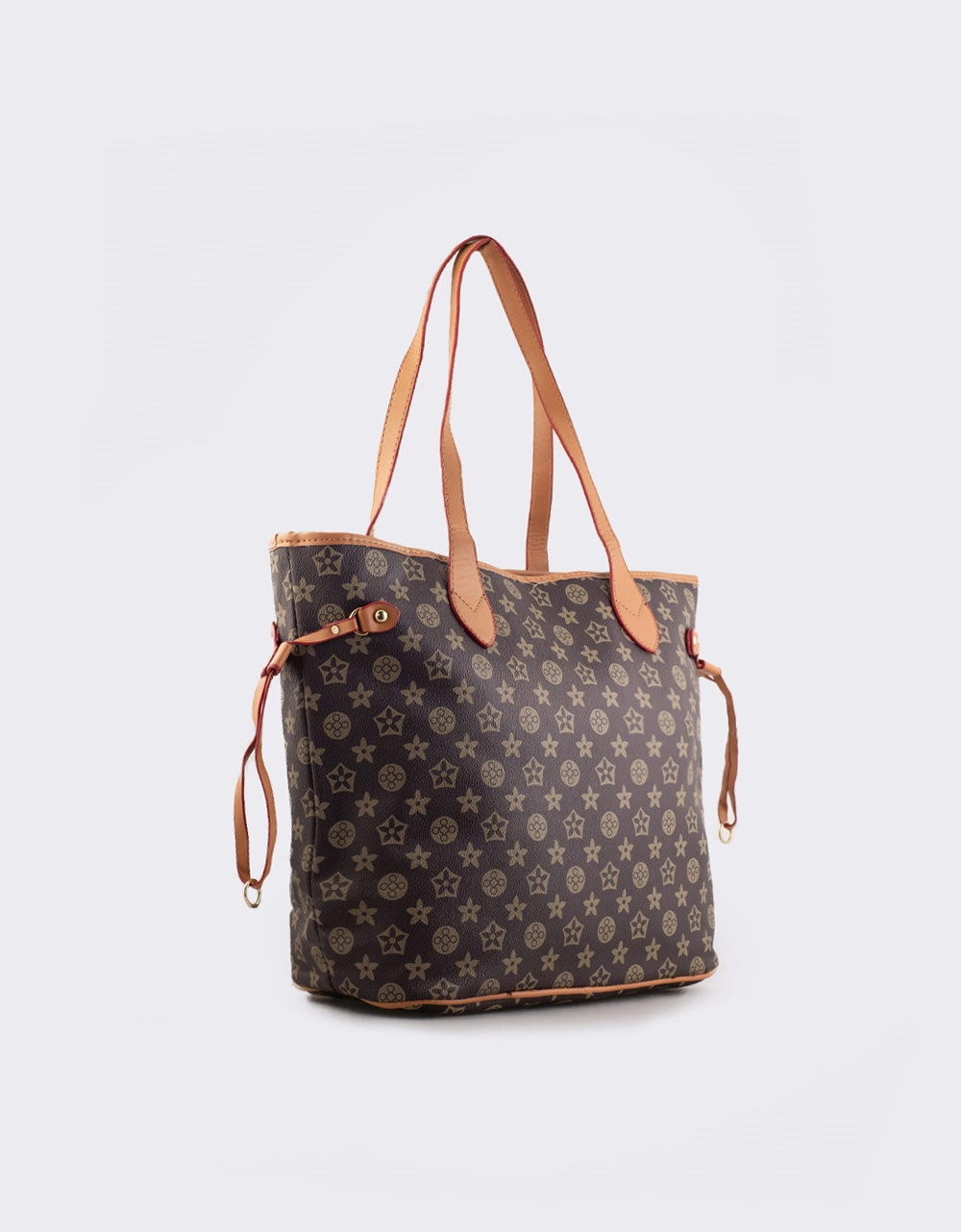Εικόνα από Γυναικεία τσάντα ώμου με διακοσμητικά λουράκια Καφέ