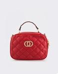 Εικόνα από Γυναικεία τσάντα ώμου με διακοσμητικό τοκά Κόκκινο