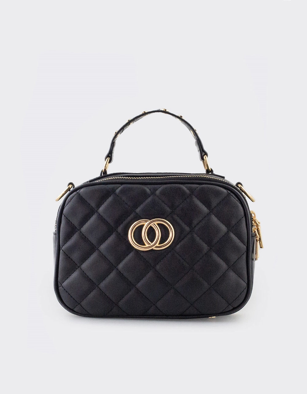 Εικόνα από Γυναικεία τσάντα ώμου με διακοσμητικό τοκά Μαύρο