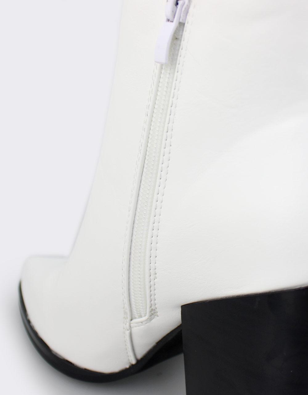 Εικόνα από Γυναικεία μποτάκια με διακοσμητικό φερμουάρ Λευκό