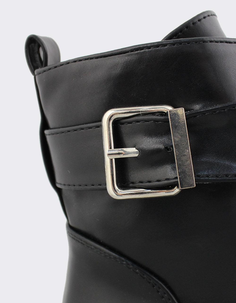 Εικόνα από Γυναικεία μποτάκια με διακοσμητικό τοκά Μαύρο